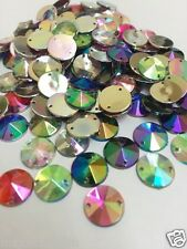 100pcs Mixed AB 10mm Flat Back Pointed Sew-on Acrylic Rivoli Rhinestones C5