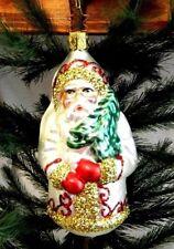 Inge Glas White European Santa Blown Glass Christmas Tree Ornament Germany