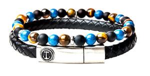Inox Men's Onyx Tiger Eye Black Leather Stackable Bracelets Stainless Steel