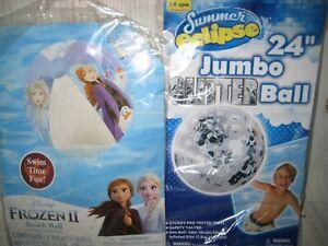 """2 Pool Summer Eclipse Silver Glitter 24 inch Jumbo Beach Ball & FROZEN 13.5""""Ball"""