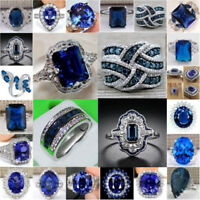Fashion Jewelry Women 925 Silver Sapphire Ring Wedding Engagement Jewelry Gifts