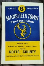Mansfield Town v Notts County League Cup 1st Rd Replay Programme 29/08/66
