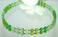 Kette Würfelkette funkelndes Kristallglas geschliffen dunkelgrün hellgrün 095g