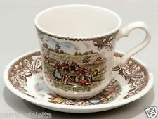 Johnson Brothers Brown Multicolored Transferware Cup Saucer Barn Harvest Picnic