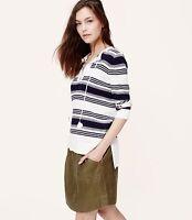 Ann Taylor Loft Striped Summer Sweater Navy White 3/4 Sleeve Cotton M Nwt $49.5