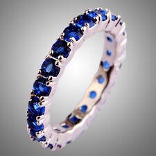 Simple Style Round Cut Sapphire Quartz Gemstone Silver Ring Sz L N P R T V Y 13
