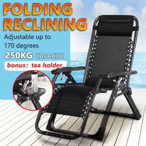 Kingsize Outdoor Folding Reclining Garden Beach Chair Sun Lounger Deck Recliner