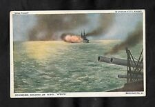 WWI Illustrated Card - Broadside Salvo of H.M.S Africa