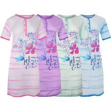 Nachthemd Sleepshirt Damen Bigshirt Kurzarm Pyjama Blumen 6601  M-3XL NEU