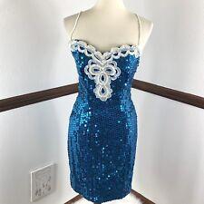 VTG Maurices Dress Size 7/8 Sequin Sleeveless Blue