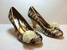 Poetic Licence Picnic Ready Yellow, Grey & White High Heels Sz 6 M 36.5