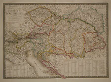 1827 Genuine Antique hand colored map of the Austrian Empire. A.H. Brue