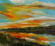 Sun  Landscape Original Oil Painting JMW Art John Williams Realism River scene