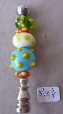 "Lamp finial Blown Art Glass Beads nickel base 3 1/2""h x 3/4""dia"