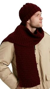 KNITTING PATTERN -  MEN'S ARAN EASY BASKETWEAVE MATCHING HAT & SCARF ONE SIZE