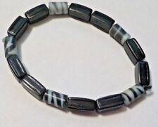 "Vintage 7 1/2"" Animal Striped & Black Plastic Beads Stretch Bracelet"