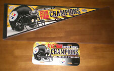 STEELERS SUPERBOWL XL CHAMPIONS PENNANT & LICENSE PLATE