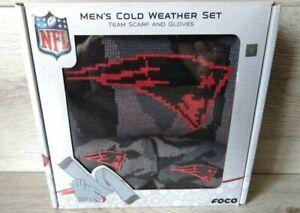 New England Patriots NFL Men's Cold Weather Set Scarf & Gloves Black Gray Camo