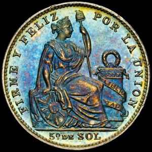 1913 FG Peru 1/5 Sol Toned Mint Error Obverse Struck Thru NGC MS-65