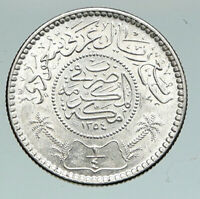 1935 SAUDI ARABIA King Saud VINTAGE Silver 1/4 Riyal Ornate Arabic Coin i91120