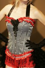 RINGMASTER costume Burlesque Circus dress Saloon Girl Red Black feathers S-XL