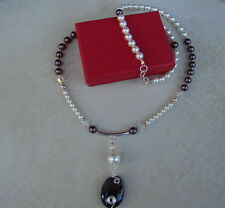 LDN_Collier Création Cristal Swarovski Perles Burgundy Agate_Argent 925