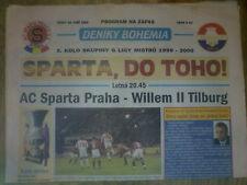 Programme Sparta Prague Praha Tchèque-Willem II PAYS-BAS 1999 CHAMPIONS LEAGUE