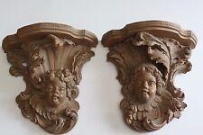 Pair Of Terra Cotta Angels Figurines Corbel
