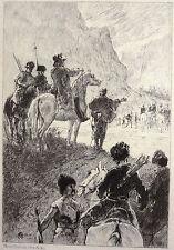 Gravure Etching Incisione Mouilleron Robinson Crusoé, sur chine avant la lettre