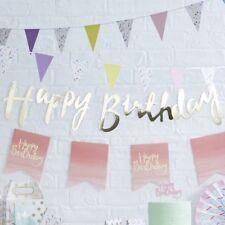ORO Buon Compleanno Bandierine/Party Deco, sfondo Bunting in oro metallizzato, Banner