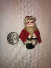 Vtg Victorian Chenille Pipe Cleaner Santa Celluloid Face Milk Cap Craft Ornament