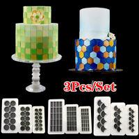 3Pcs/Set Geometric Cake Mold Plastic Cookie Fondant Cutter Tool Cake Decorating