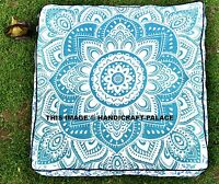 "Indian Green Ombre Mandala Floor Pillow Large Ottoman Pouf Footstool 35"" Square"