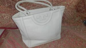 Tory Burch Serif T Pebble Leather Large Tote bag Ivory