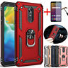 For LG Stylo 5 Plus/6/5x Shockproof Armor Stand Hard Case Cover+Tempered Glass