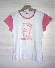 T-shirt vintage Hello Kitty manica corta, puro cotone, bianca e rosa taglia 36