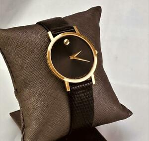 1990s Luxury Museum MOVADO 7 JEWEL SWISS MADE Quartz  MEN Wrist Watch  Running .