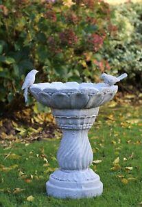 GARDEN ORNAMENT TRADITIONAL BIRD BATH BOWL OUTDOOR WATER WEATHERPROOF SLATE GREY