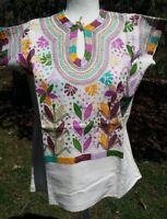 Maya Mexican Blouse Top Shirt Embroidered Huipil Corn Chiapas Cream Medium B31