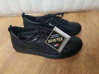 ECCO GORETEX LACE UP TRAINERS Black Leather Ladies Waterproof UK 4 / 37 - NEW