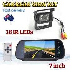 "Car Rear View Kit 7"" LCD Mirror Monitor + Reverse 18 IR LED Reversing CCD Camera"