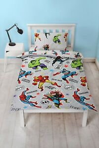 Marvel Avengers Comic Duvet Cover Reversible Bedding Set Single Iron man & More