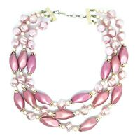 Vintage Pink Multistrand Necklace. Faux Pearl. Kitsch Mid Century Cute.