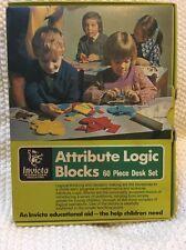 Invicta Attribute Logic Blocks 60 Pc Desk Set Plastic Case In Box MINT Books Inc