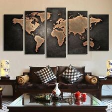 No Frame World Map Art Oil Painting Large Canvas Huge Modern Home Wall Decor