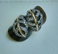Two Tone Sterling Silver & 9k Gold Ring size M hallmarked SAME DAY SHIPPING
