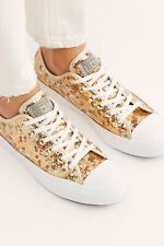 Converse Sequin Low Top Gold Sequin Chucks Sneakers Size 7.5 New