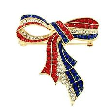 PATRIOTIC 4TH OF JULY RED WHITE BLUE RHINESTONE GOLD TONE RIBBON BROOCH