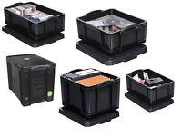 Aufbewahrungsbox Stapelkisten Box schwarz - 7 versch. Größen Blitzversand