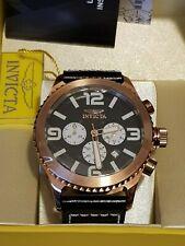 Invicta 1429 reloj de acero inoxidable y cuero negro, tono rosa enchapado en oro